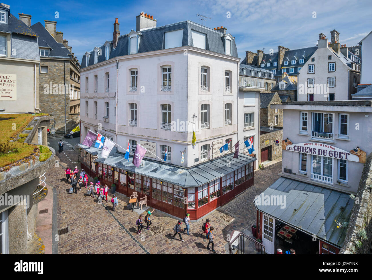 France, Brittany, Saint-Malo, Place Guet, Intra-Muros view from the city Wall at Bastion de la Hollande - Stock Image
