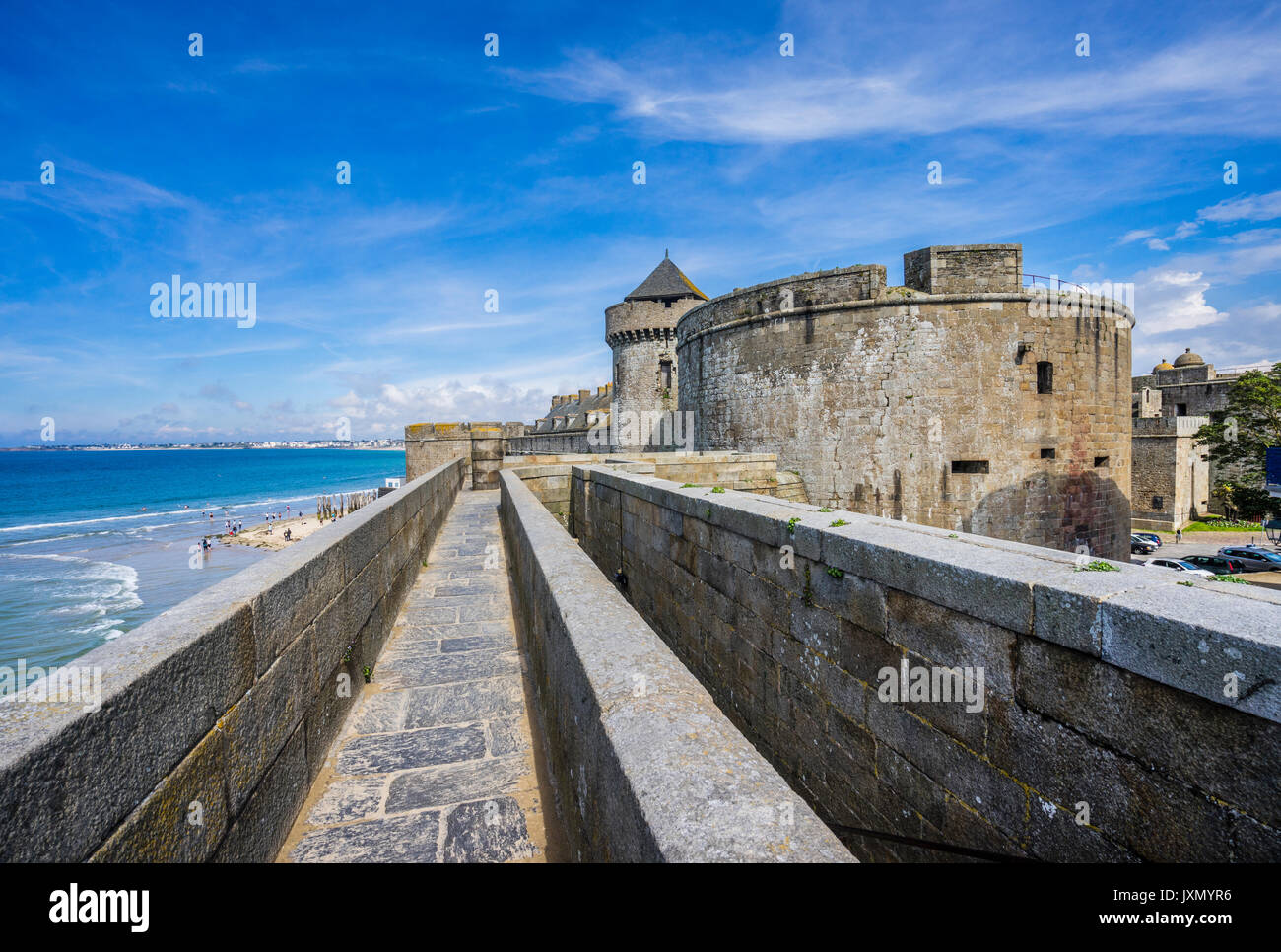 France, Brittany, Saint-Malo, view of Chateau Gailard and city wall fortifications - Stock Image