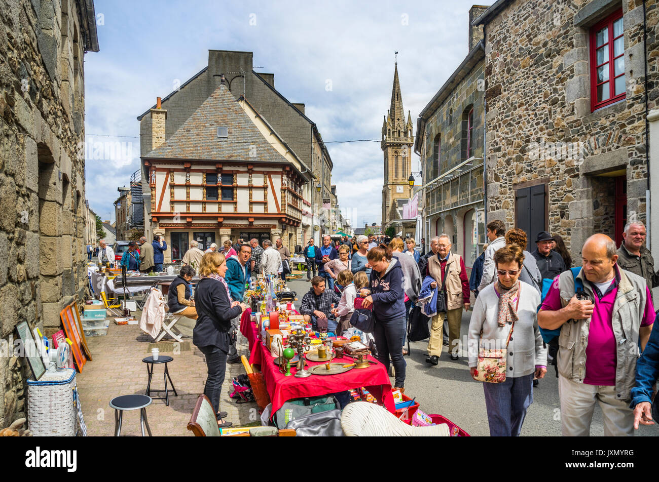 France, Brittany, Antiques Street Fair and flea market in the breton country town of Lanvollon - Stock Image