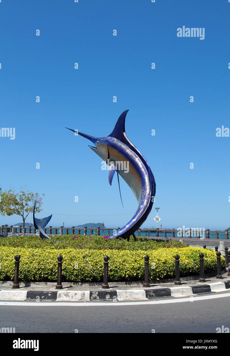 Swordfish statue located on a small roundabout, Kota Kinabalu seafront, Sabah, Borneo, Malaysia - Stock Image