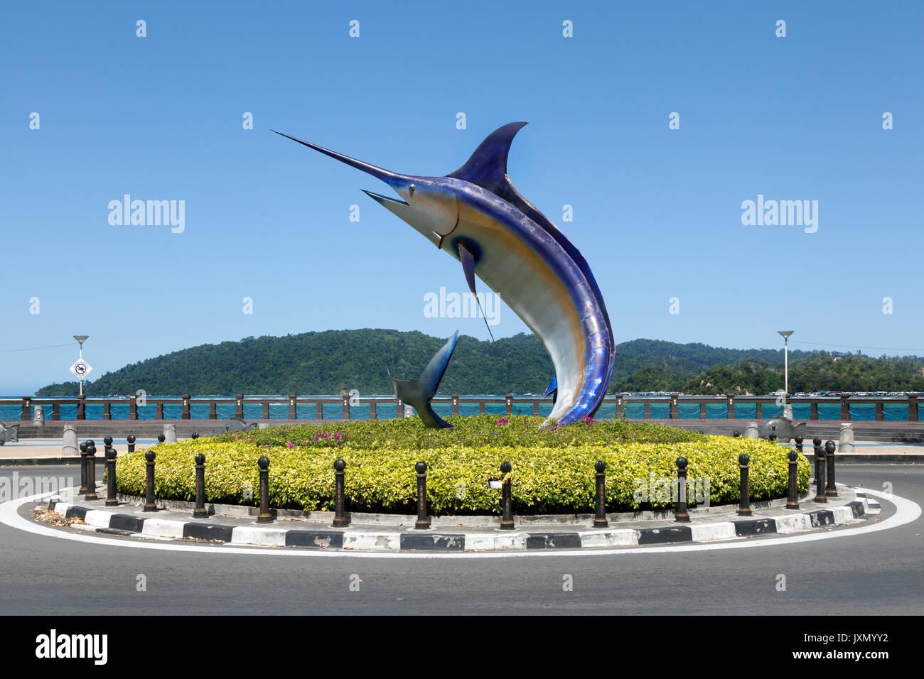Giant marlin statue located on Kota Kinabalu seafront, Sabah, Borneo, Malaysia - Stock Image