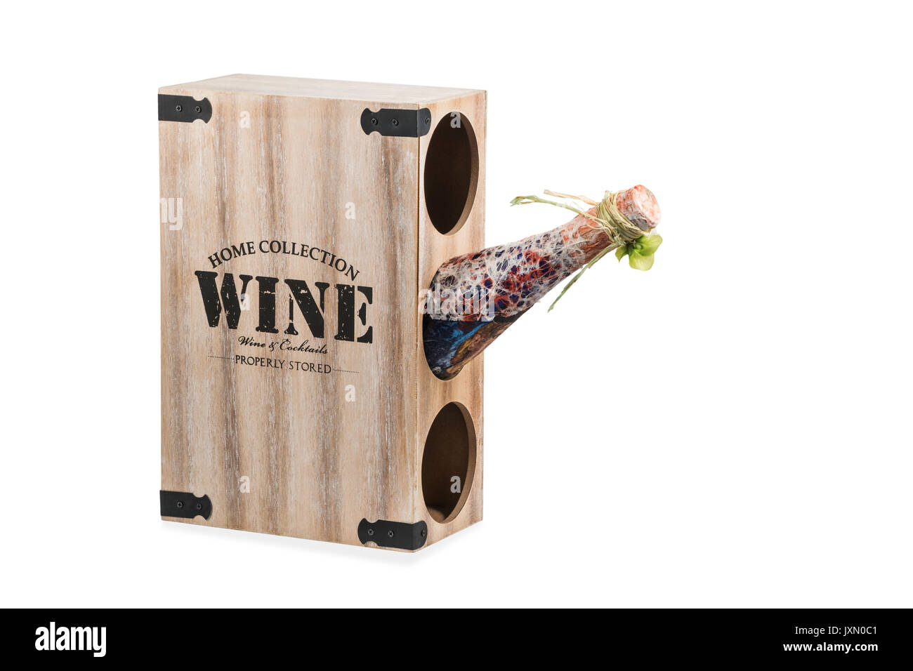 Wooden box with holes for storing bottles of wine isolated on white background - Stock Image