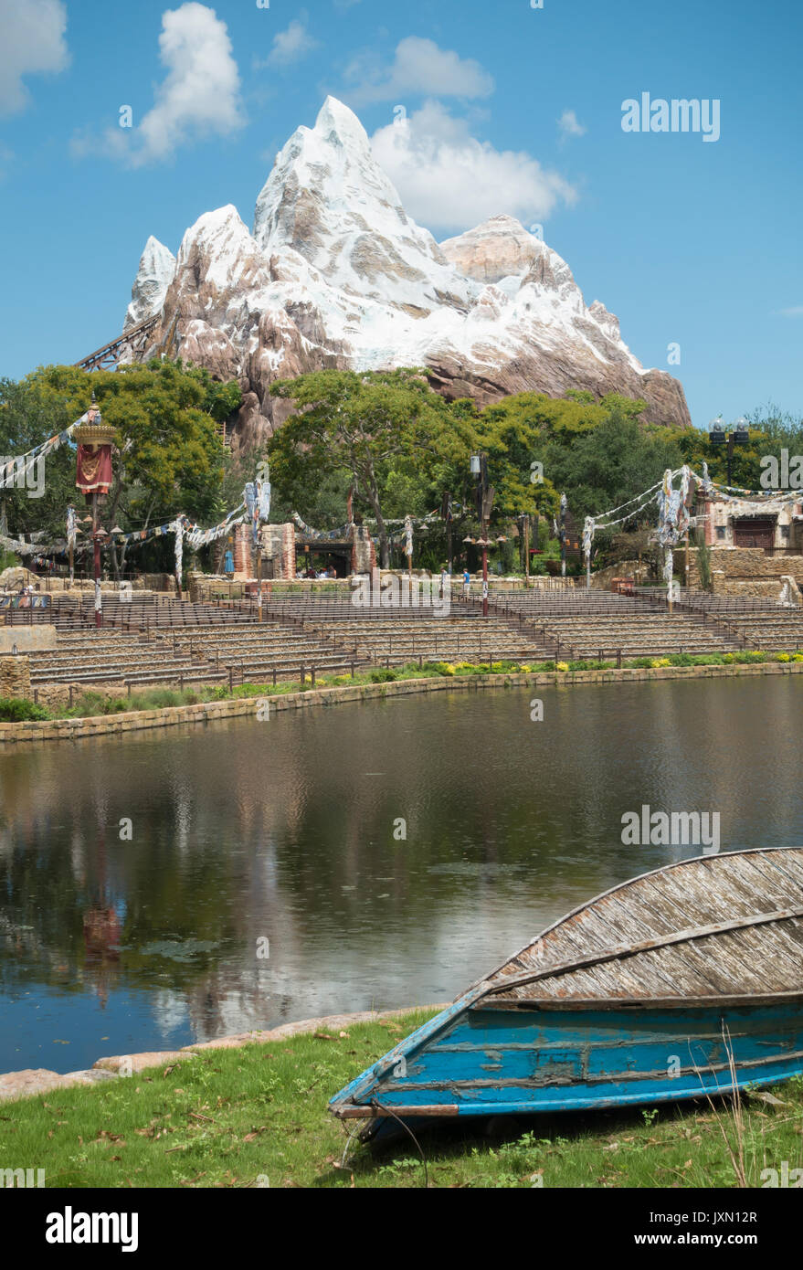 Looking towards Expedition Everest over the Rivers of Light lake in Disneys Animal Kingdom Theme Park, Orlando, Florida. - Stock Image