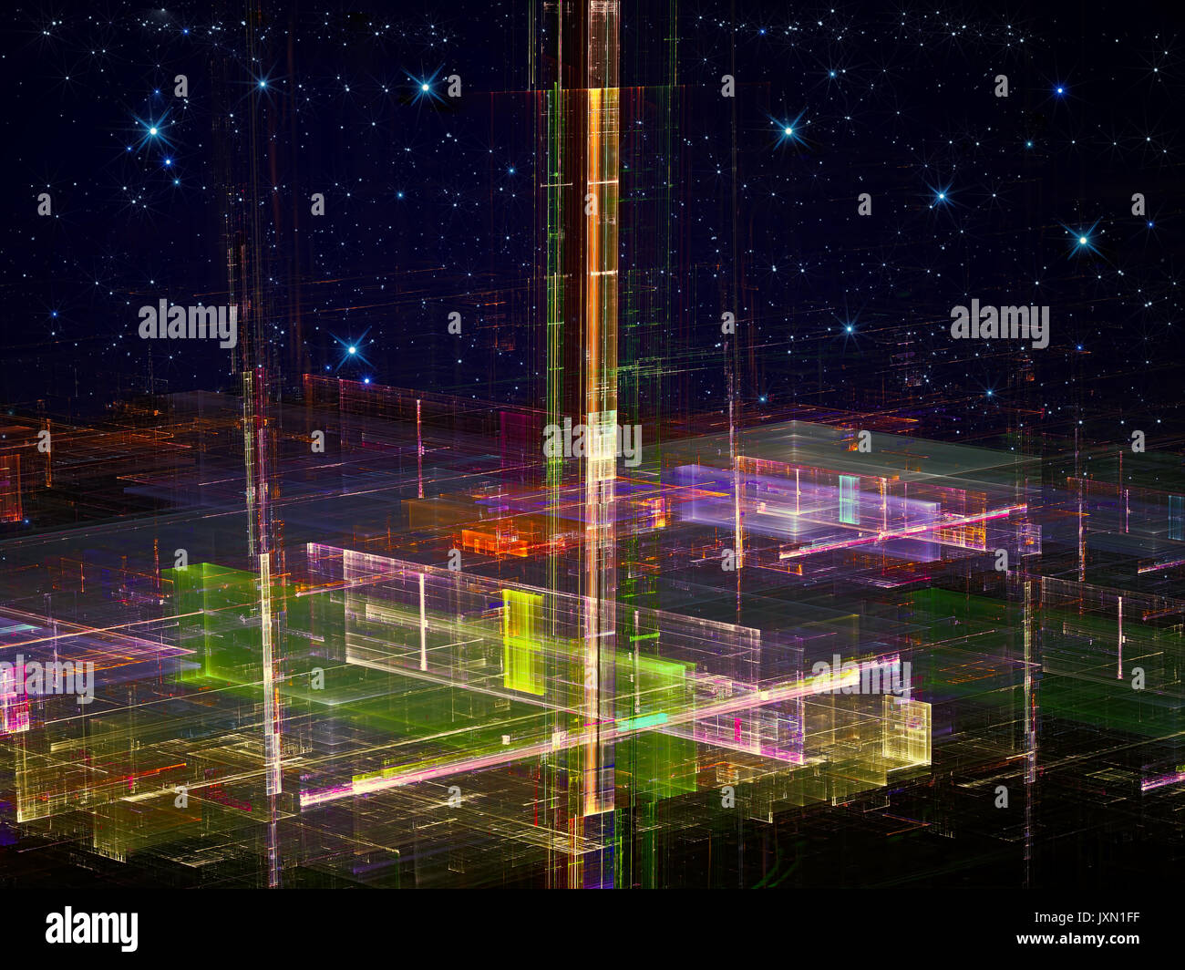 Abstract future city - digitally generated image - Stock Image