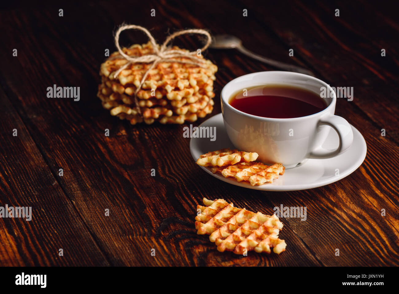 Breakfast with Hommade Waffles and Cup Tea. - Stock Image