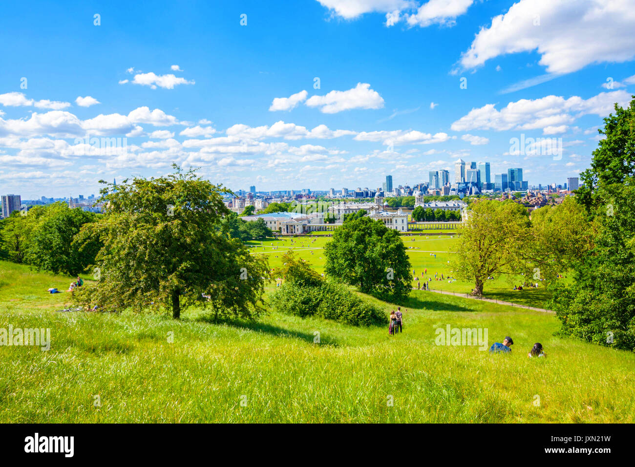 View of central London from Primrose Hill - Stock Image