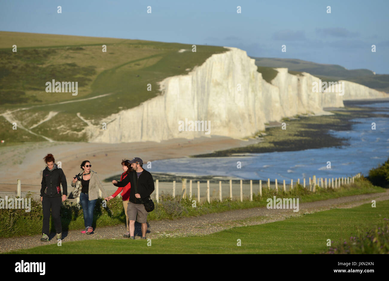 Visitors at the Seven Sisters country park, East Sussex - Stock Image