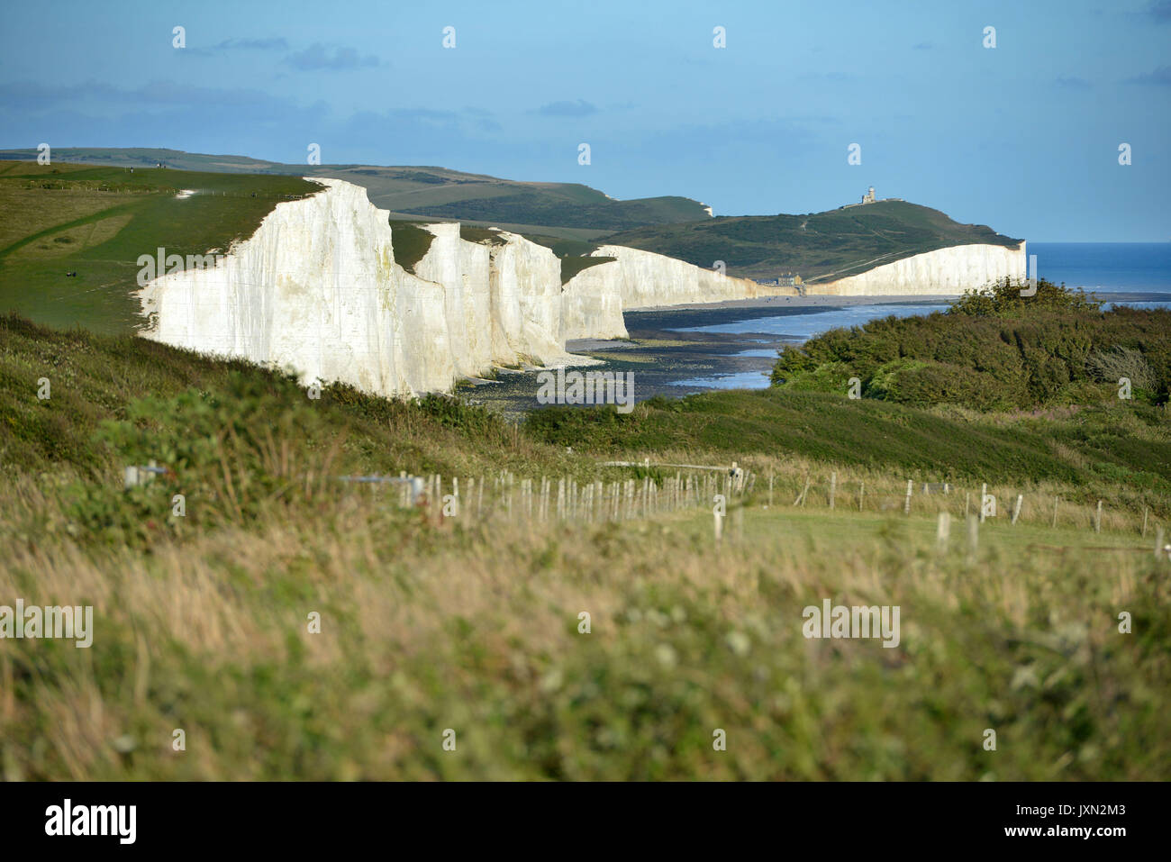 Sunset at the iconic Seven Sisters chalk cliffs, East Sussex, South Downs National Park - Stock Image