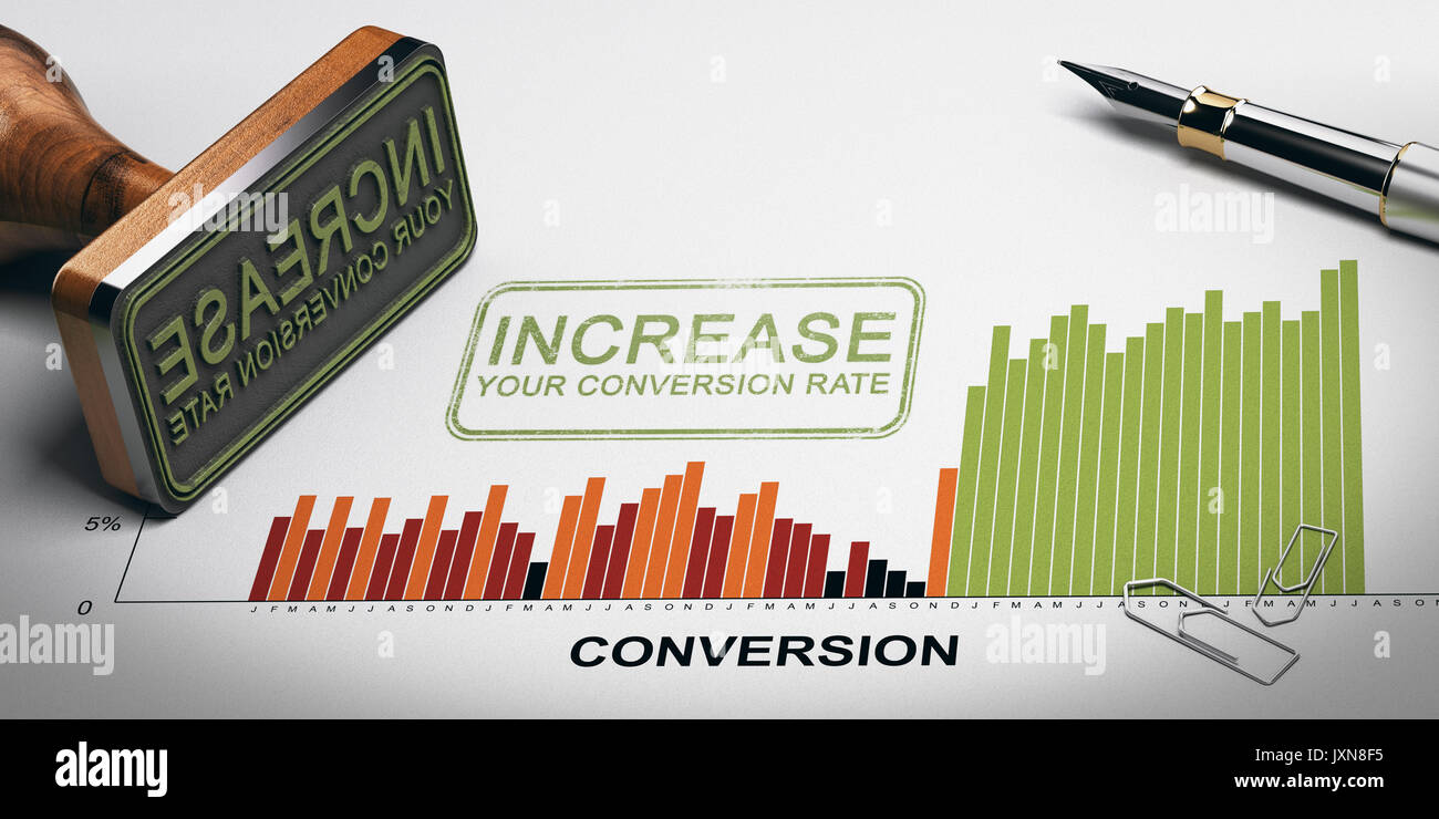 Paper sheet with conversion rates statistics, rubber stamp and slogan with the text increase your conversion rate. 3D illustration. - Stock Image