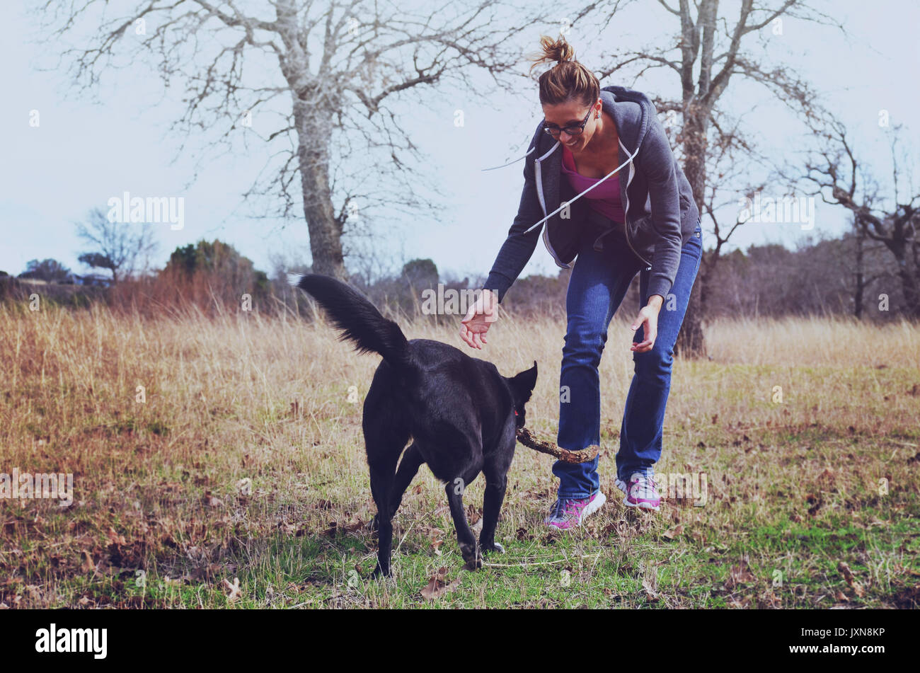 Woman playing fetch with pet dog in pasture, authentic active family lifestyle with animal. - Stock Image