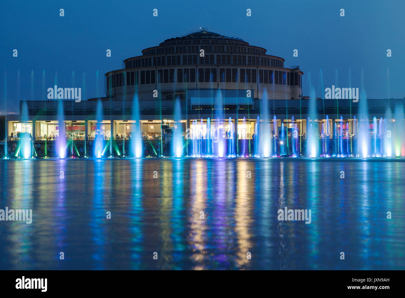 Multimedia Fountain in Wroclaw, Poland. - Stock Image