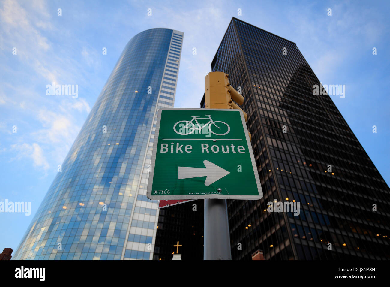 Bike route sign in Downtown Manhattan, New York, NY - Stock Image