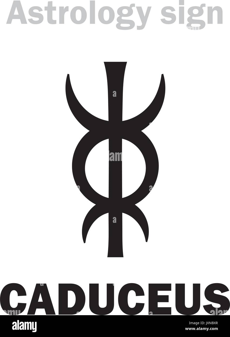 Astrology Alphabet: CADUCEUS of Mercury (or Hermes, or Apollo, or Aesculapius). Hieroglyphics character sign (single symbol). - Stock Vector
