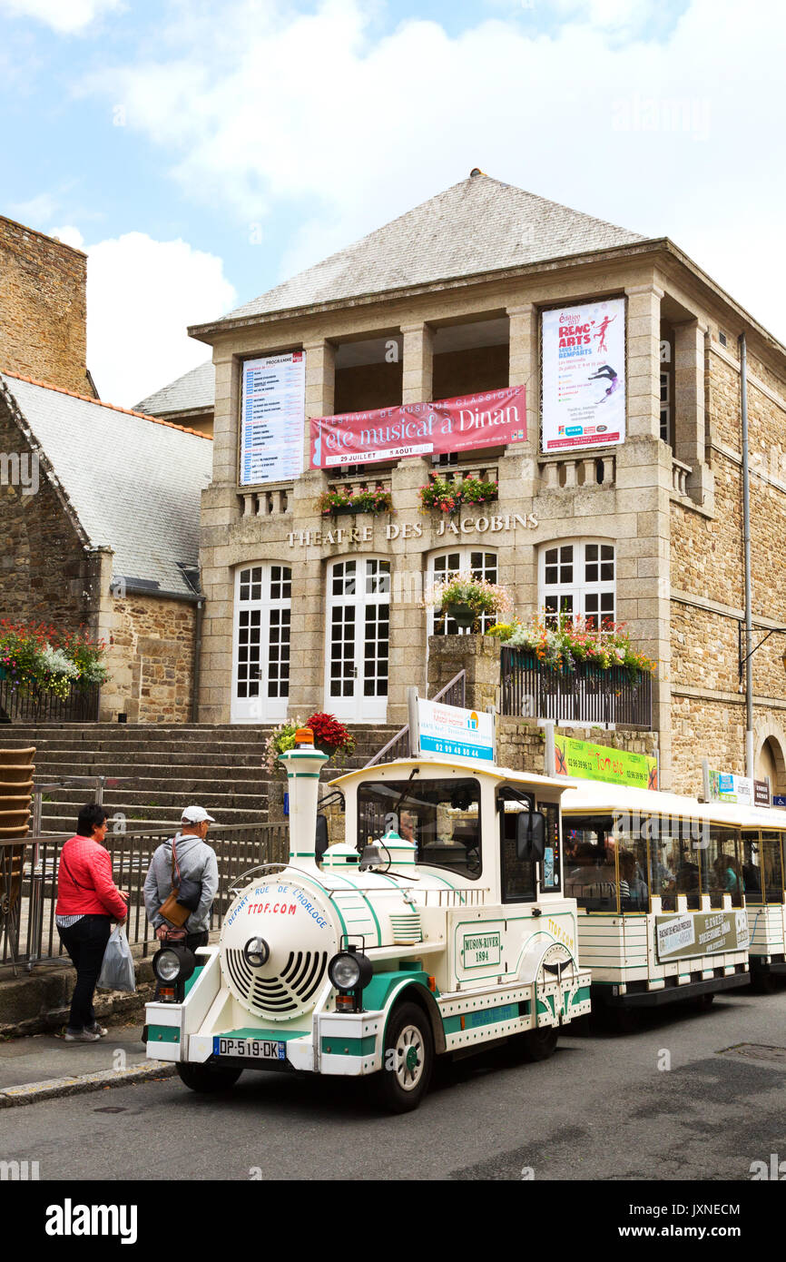 The tourist train in Dinan old town ( walled town ), Brittany France - Stock Image