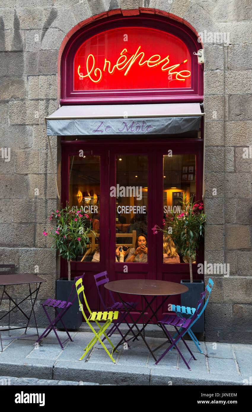 France - Creperie or cafe in the walled town, St Malo, Brittany France - Stock Image