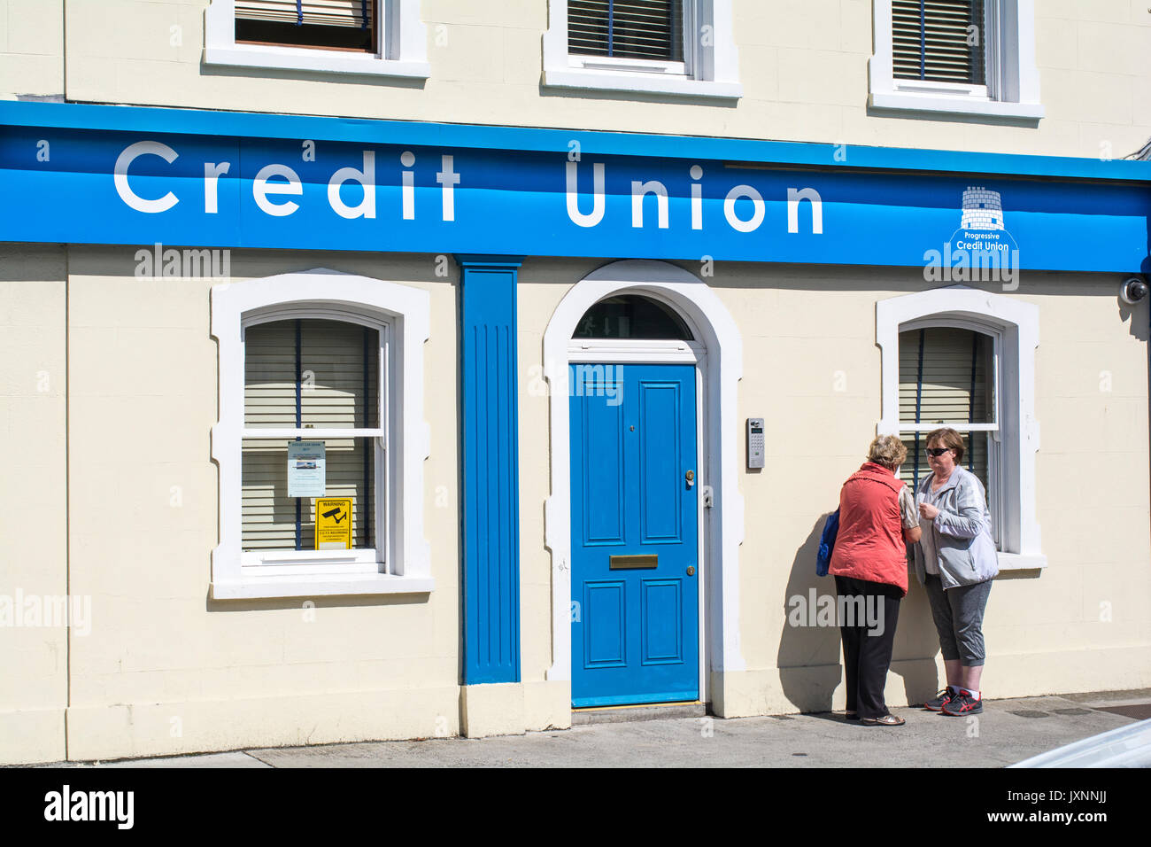 The Credit Union offices in Skerries, co.Dublin, Ireland. Credit Unions are local savings banks owned and run by their members in Ireland - Stock Image