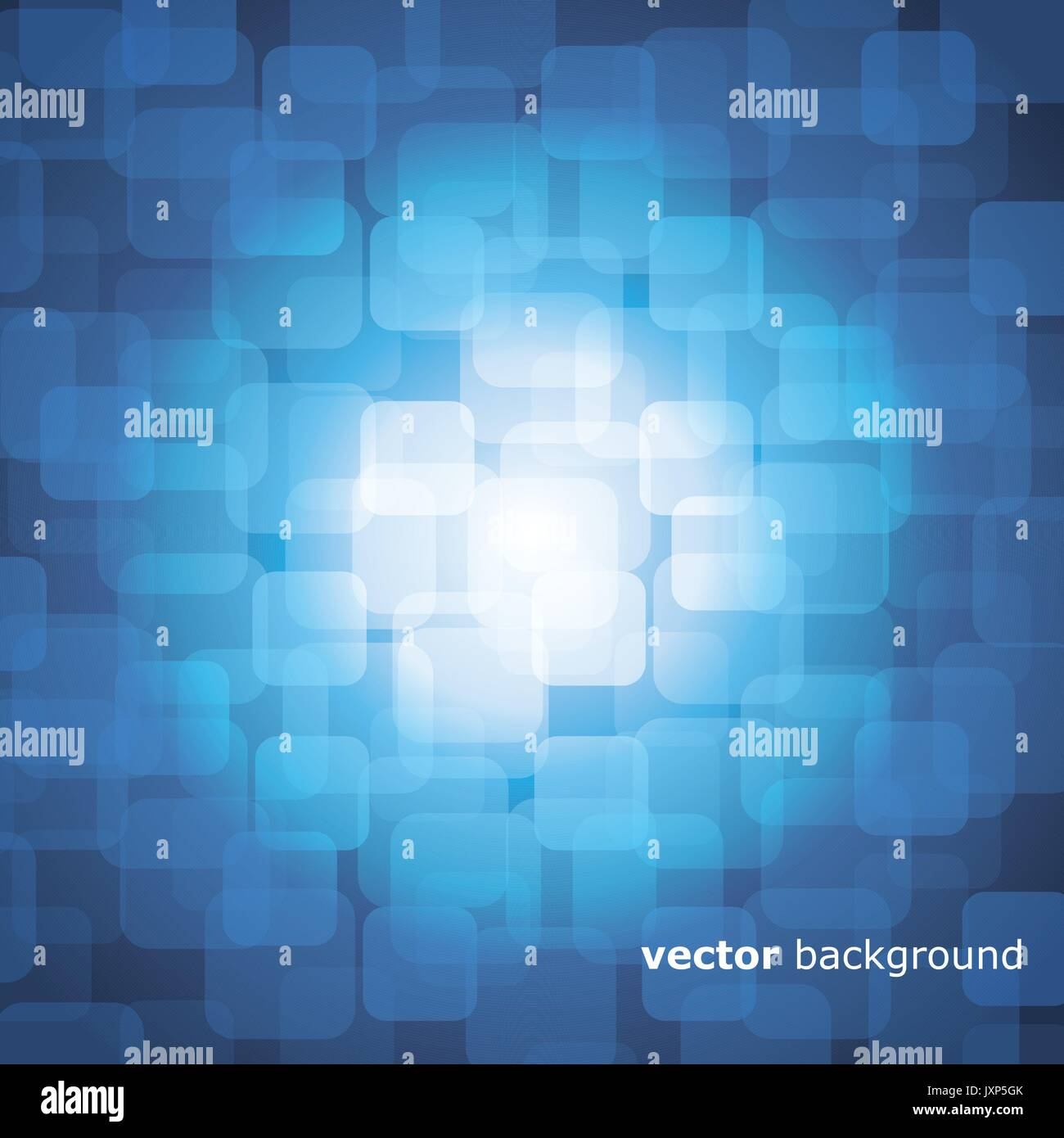 Vector 3D Warped Squares On Blue Background with Light Stock Vector