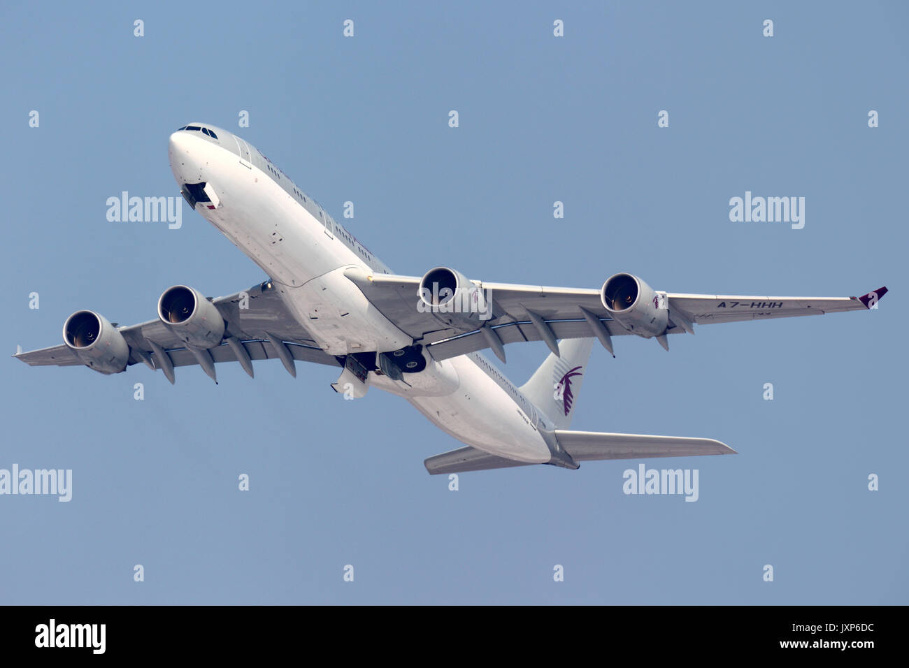 Sheremetyevo, Moscow Region, Russia - April 14, 2014: Qatar Amiri Flight A7-HHH Airbus A340-500 taking off at Sheremetyevo international airport. - Stock Image