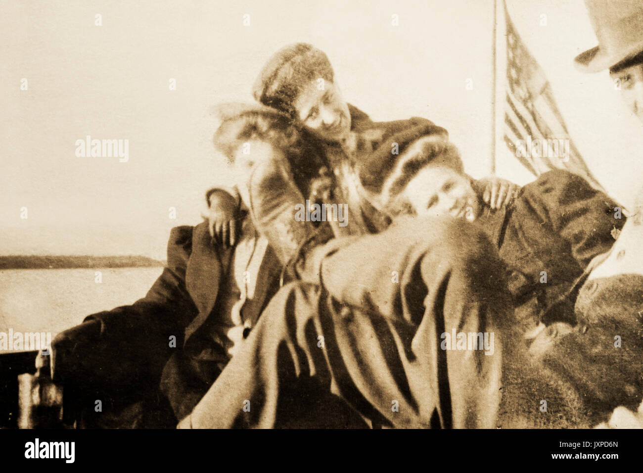 Men and women having a good time on a boat on lake Minnetonka in Minnesota 1907-1908 Stock Photo