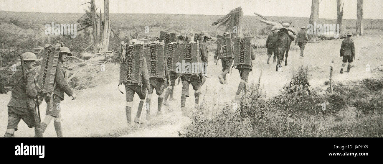 Water carriers on way to Passchendaele - Stock Image
