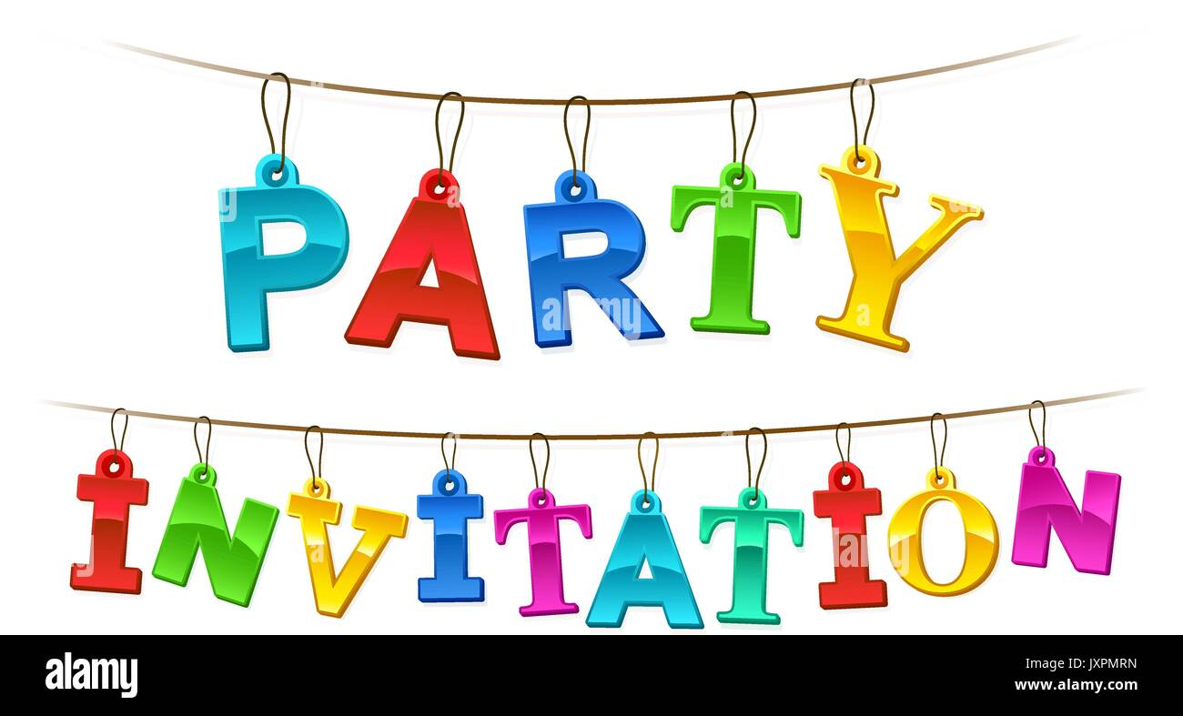 Colorful party invitation banner or card design with rainbow colored colorful party invitation banner or card design with rainbow colored letters designed as hanging tags on a string over a white background for a festiv stopboris Images