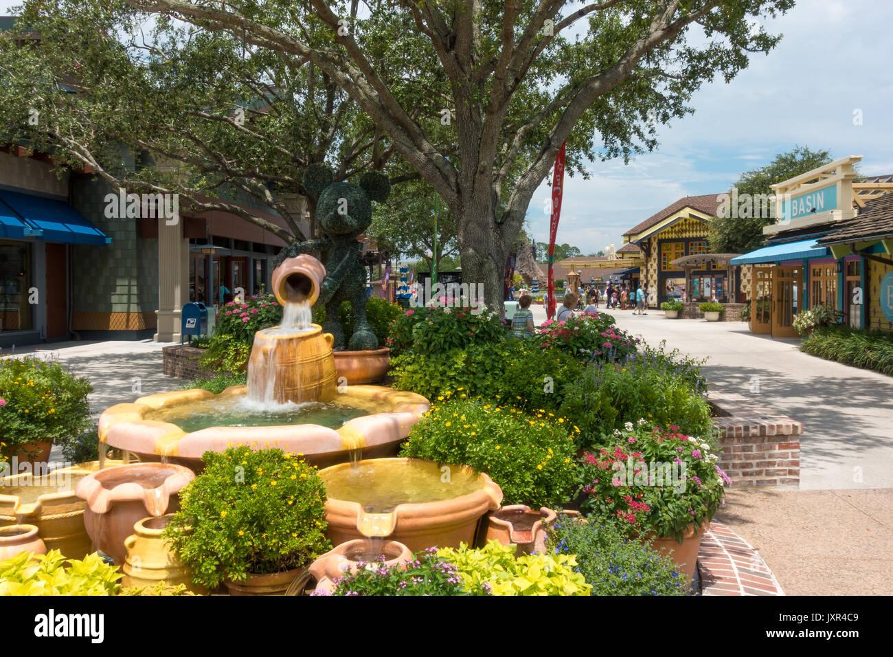 Mickey and the Clay pots Fountain at Disney Springs, Walt Disney World, Orlando, Florida. - Stock Image