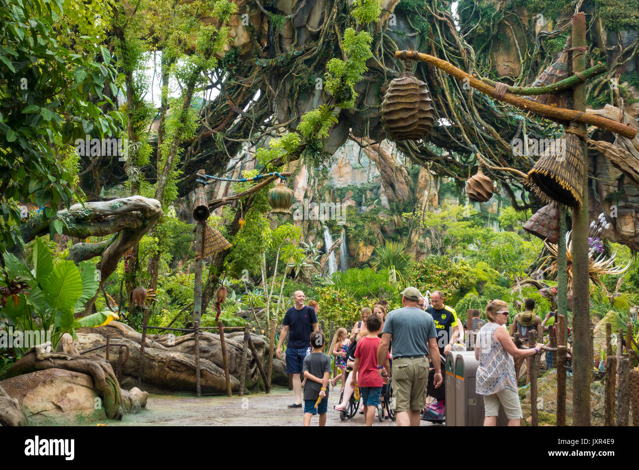 Visitors at Pandora World of Avatar in Disneys Animal Kingdom Theme Park - Stock Image