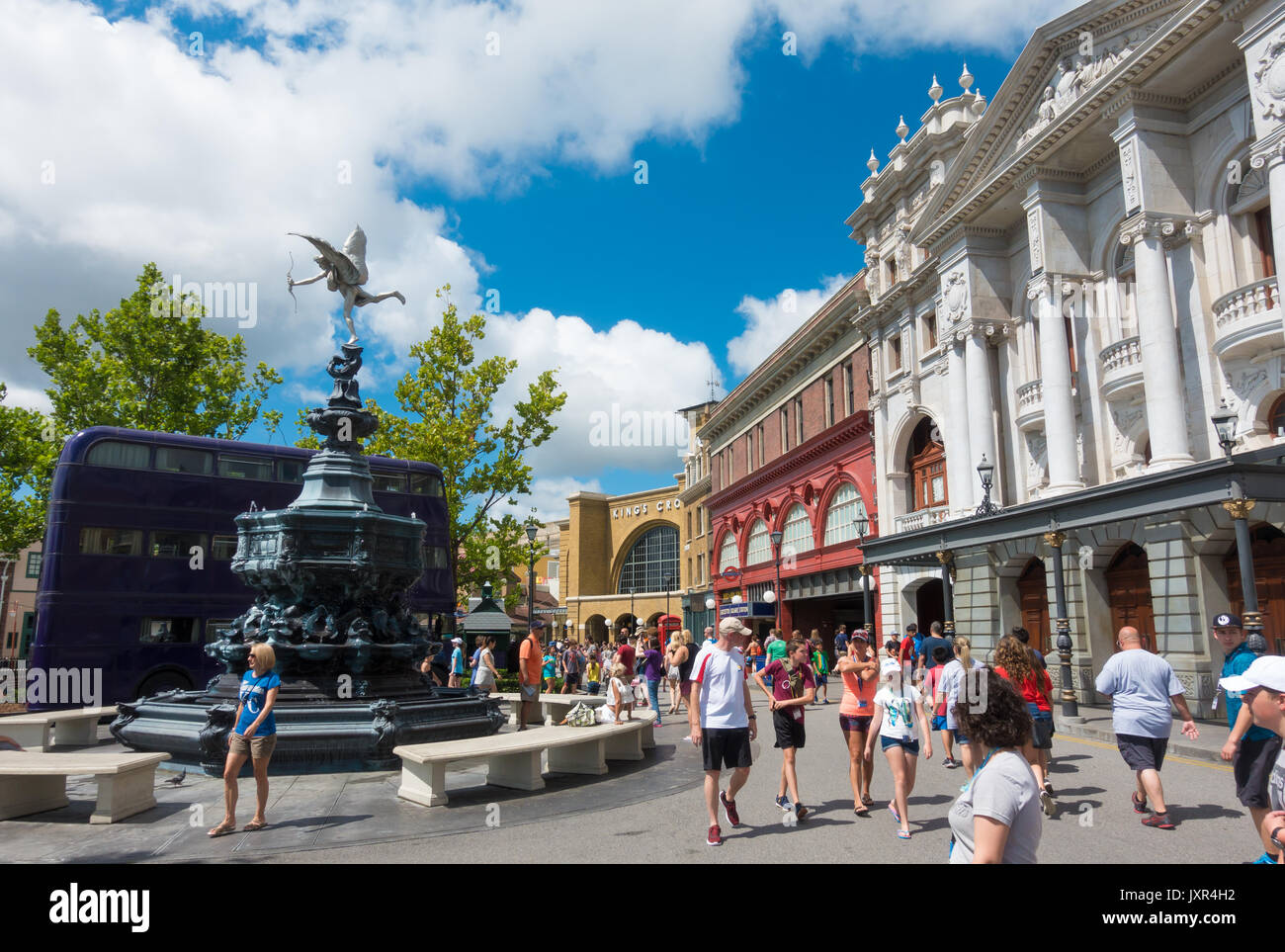 The Knight Bus and Shaftesbury Memorial Fountain in Universal Studios, Orlando, Florida. Stock Photo