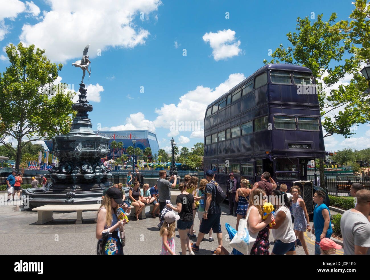 The Knight Bus and Shaftesbury Memorial Fountain in Universal Studios, Orlando, Florida. - Stock Image