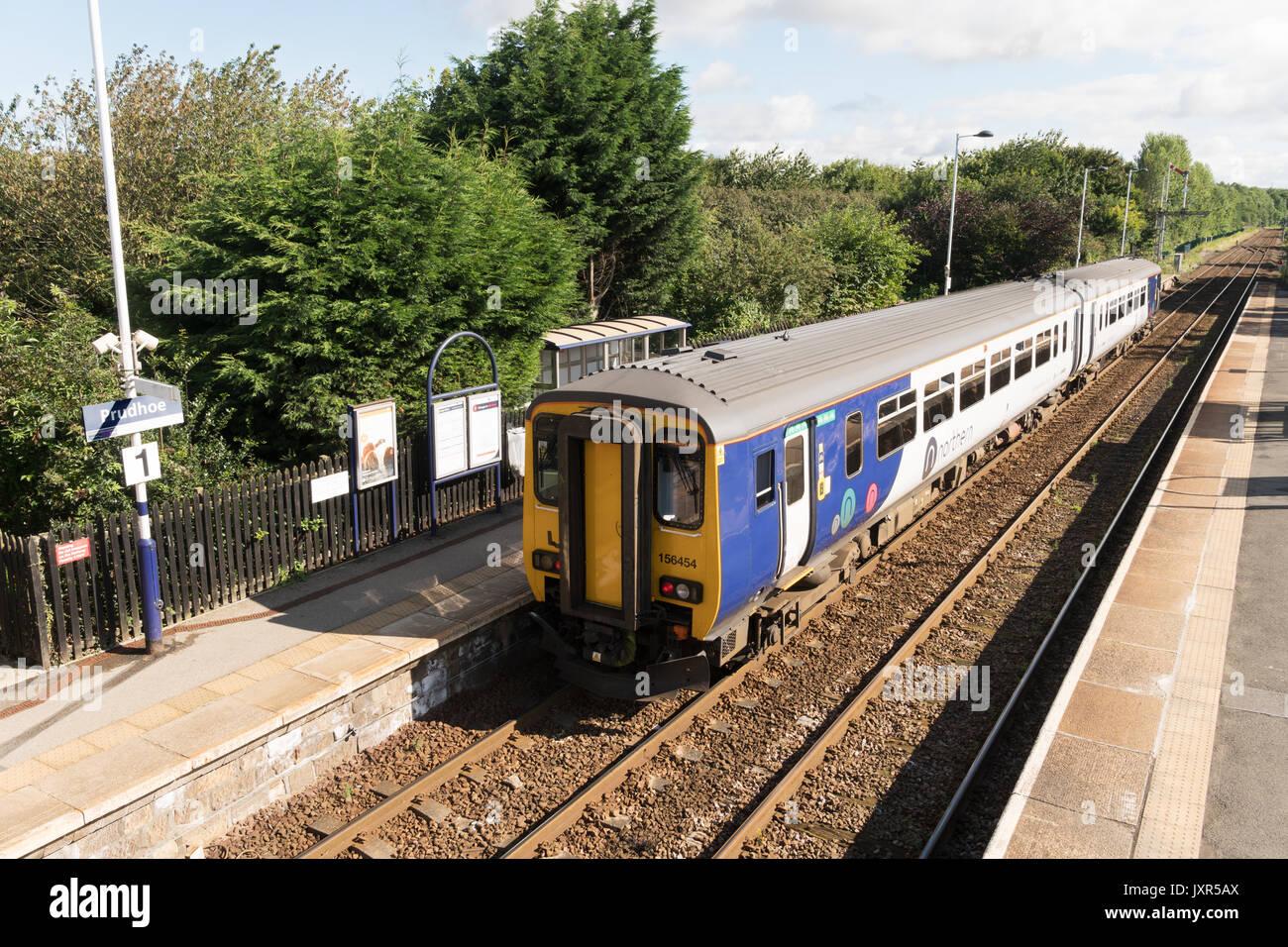 Arriva Rail North (Northern) sprinter diesel train in Prudhoe rail station, Northumberland, England - Stock Image