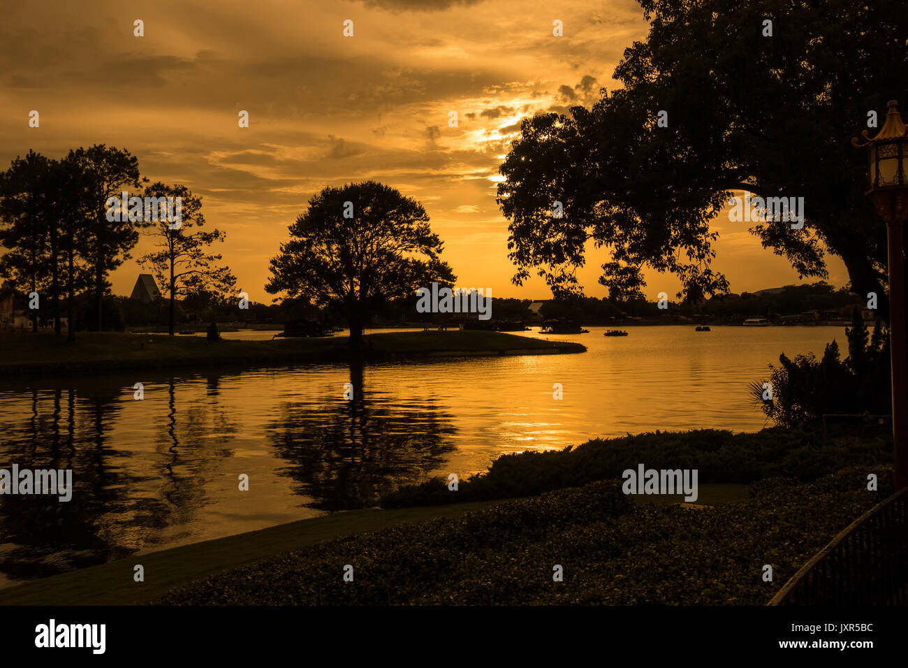 World Showcase Lagoon at sunset in Epcot, Walt Disney World, Orlando, Florida. - Stock Image