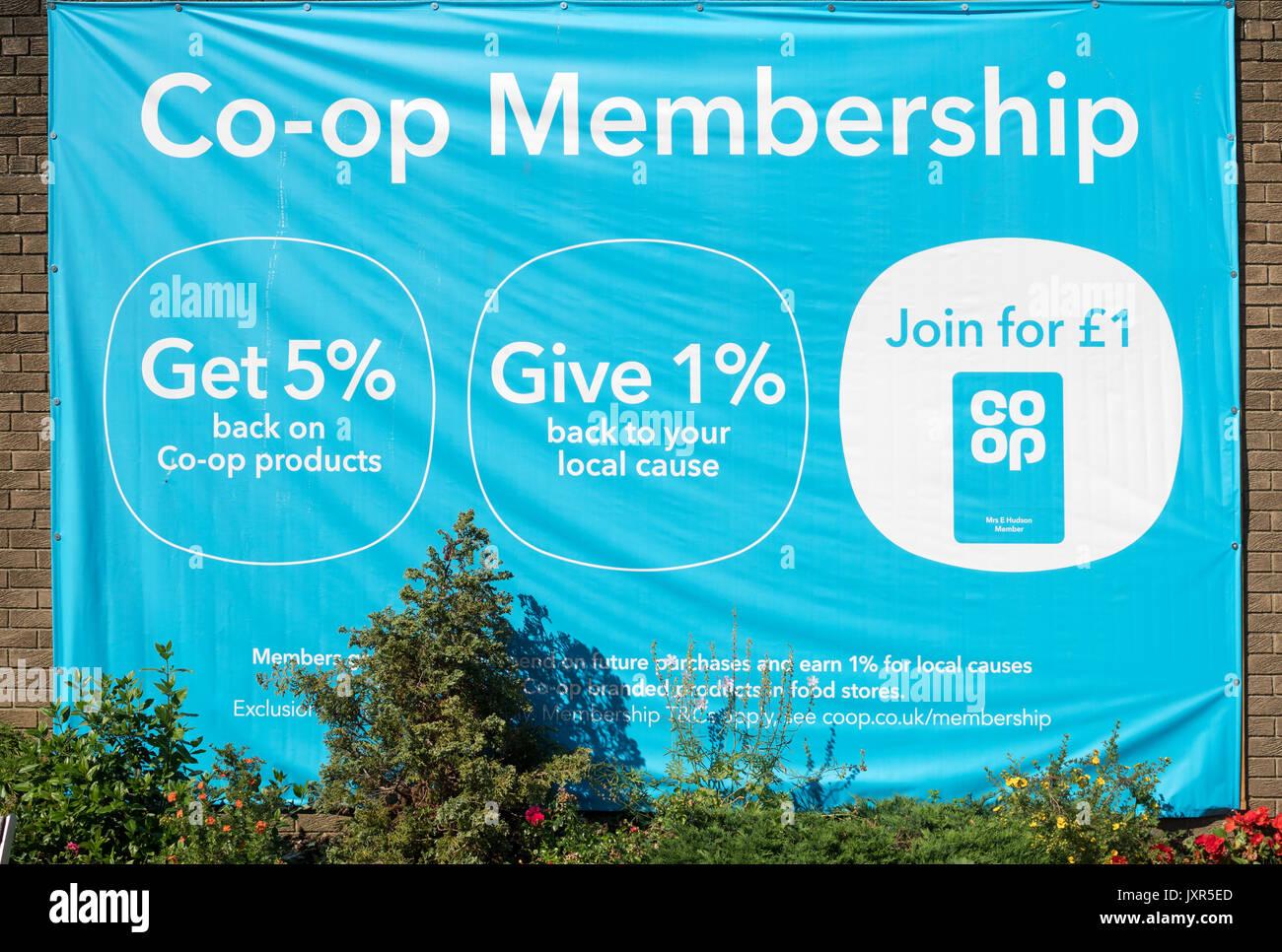 Benefits of Co-op Membership, England, UK - Stock Image