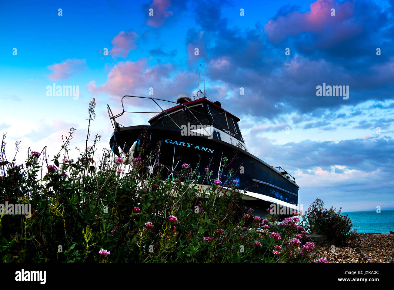 Gary Ann boat beached at Deal - Stock Image