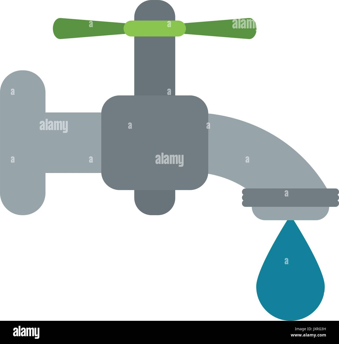 faucet with water droplet icon image - Stock Image