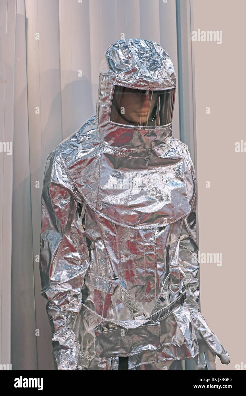 Asbestos insulated suit protective gear on mannequin - Stock Image