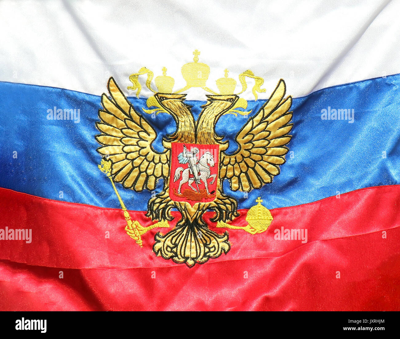 Old Russian Federation flag back in the use today - Stock Image