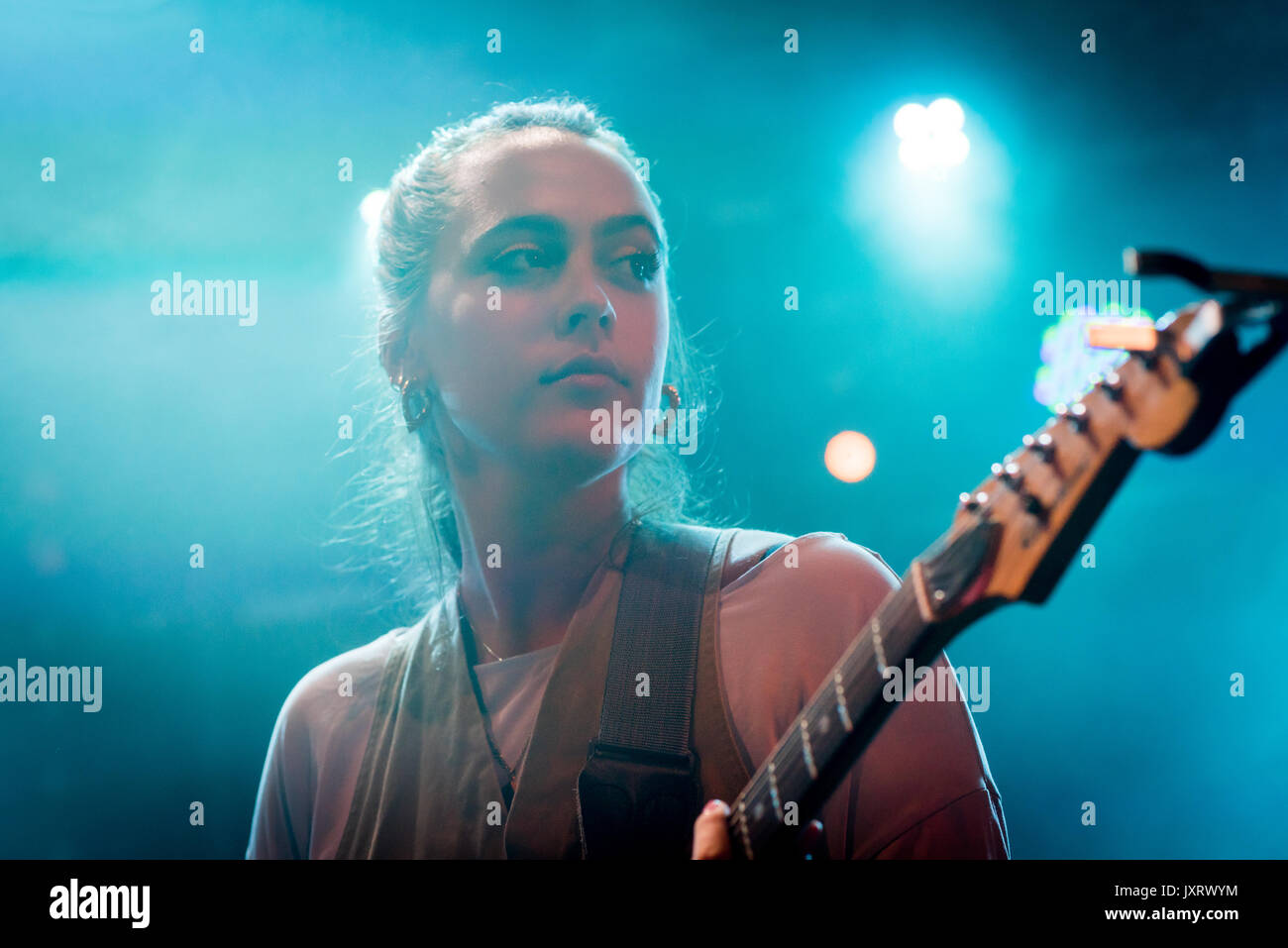 Edinburgh, Scotland, UK. 16th Aug, 2017. Ana Perrote, lead singer in the Madrid band Hinds onstage at Summerhall, Stock Photo