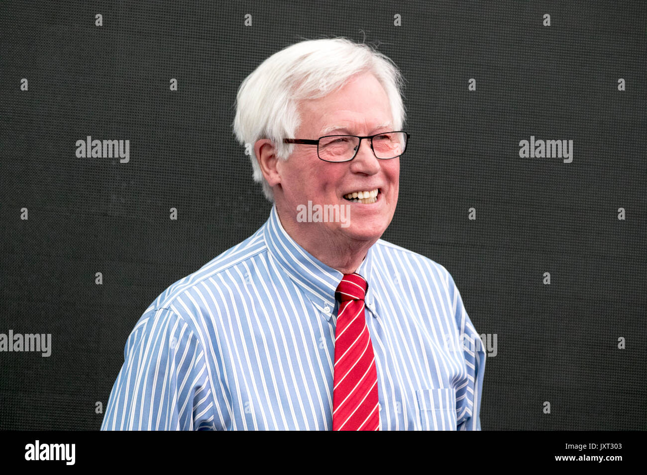 Southport, Merseyside, 17th August 2017. Flower Show.  Celebrity presenter John Craven is one of the special guests to appear at this year's annual flower show at Southport in Merseyside.  Broadcaster John, is one of the BBC's best known TV presenters & has been a regular fixture on our screens for over 45 years.  Credit: Cernan Elias/Alamy Live News - Stock Image