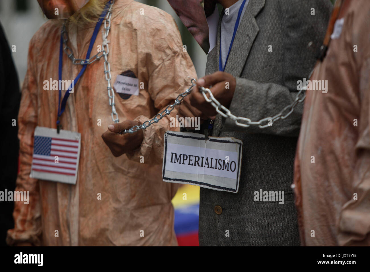 Panama City, Panama. 17th Aug, 2017. A view of a sign that reads 'Imperialism' during a protest against the visit of US Vice President Mike Pence in Panama City, Panama, 17 August 2017. Pence is in Panama fot the last stop of his Latin American tour. Credit: EFE News Agency/Alamy Live News - Stock Image