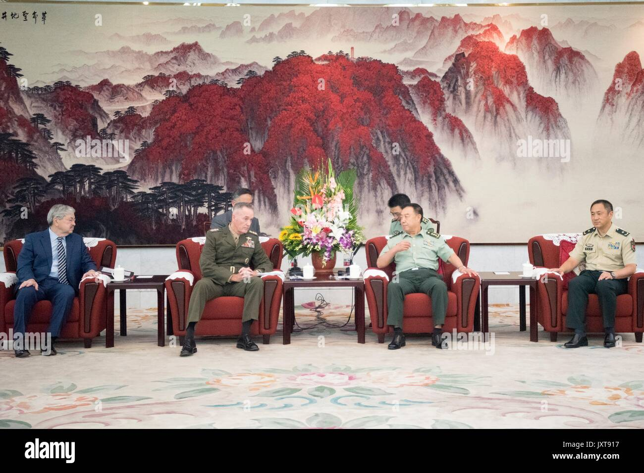 Beijing, China. 17th Aug, 2017. U.S. Chairman of the Joint Chiefs Gen. Joseph Dunford, left, meets with Chinese Gen. Fan Chanlong, vice chairman of the Central Military Commission, at the headquarters of the Peoples Liberation Army August 17, 2017 in Beijing, China. Dunford is in China to discuss defusing the situation in North Korea. Credit: Planetpix/Alamy Live News - Stock Image