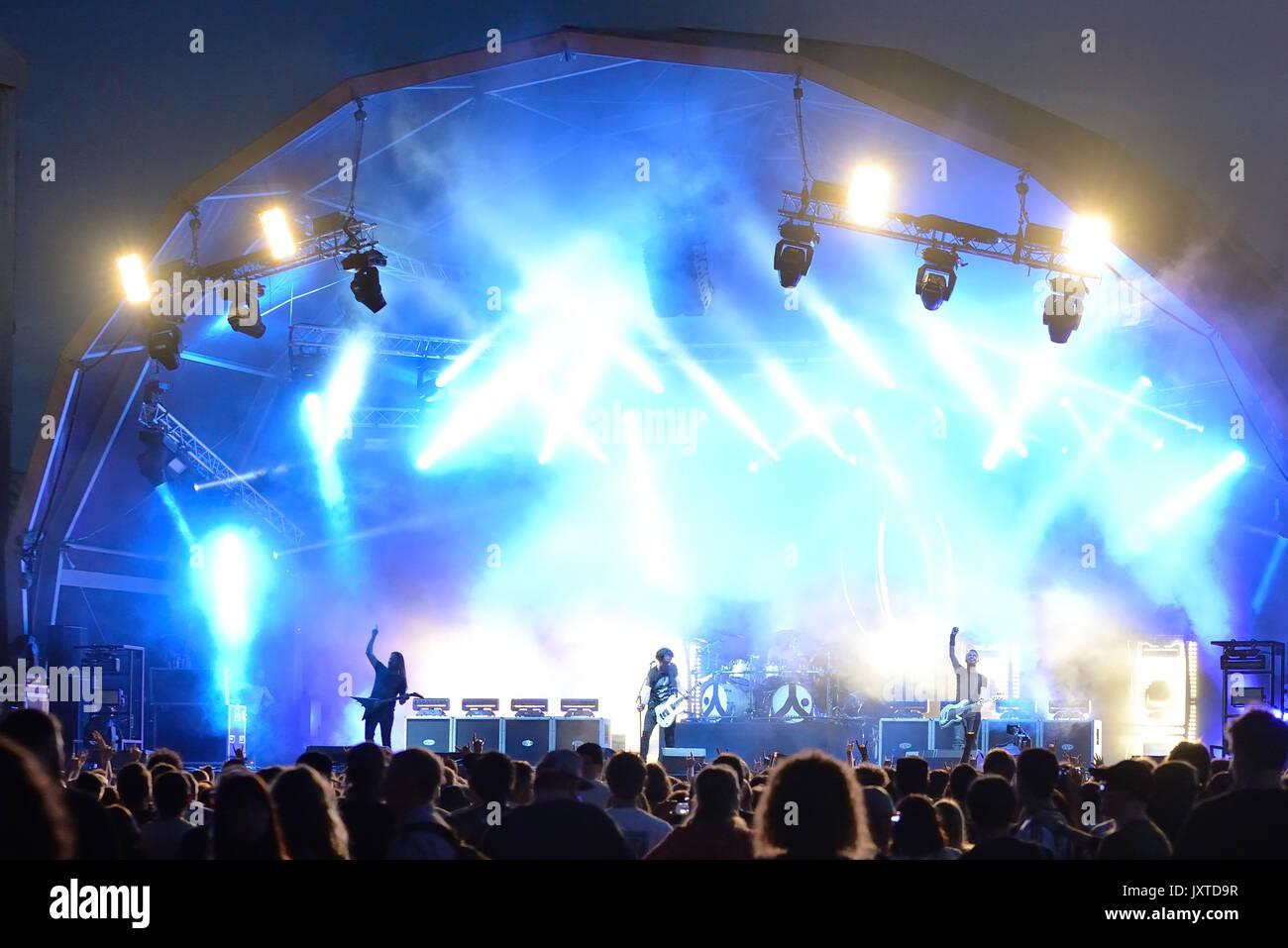 BARCELONA - JUN 1: Gojira (heavy metal music band) perform in concert at Primavera Sound 2017 Festival on June 1, 2017 in Barcelona, Spain. - Stock Image