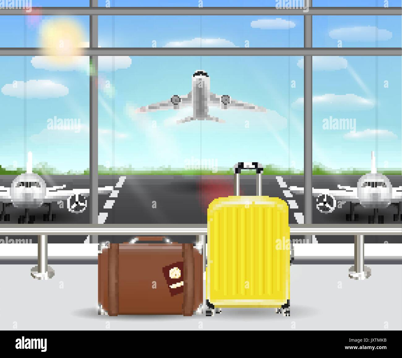 suitcase and travel bag in airport terminal - Stock Vector