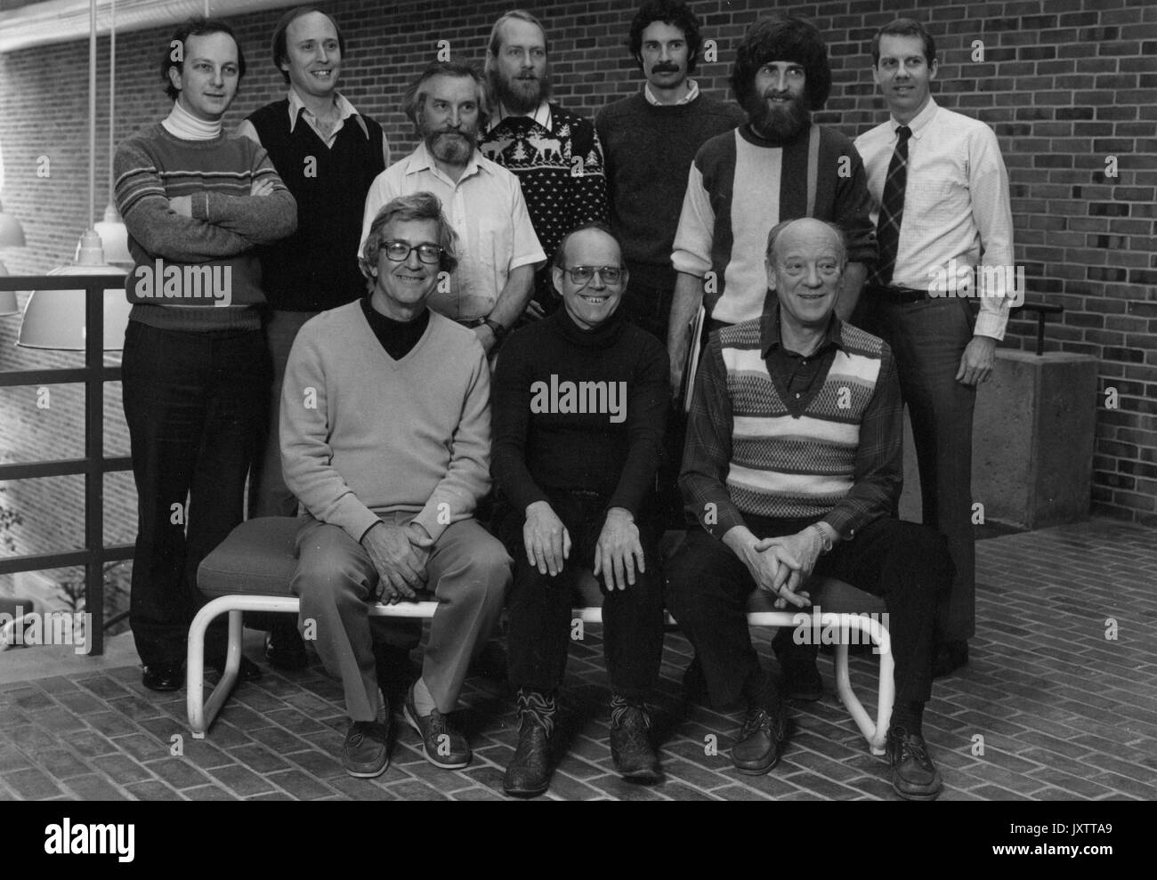 Earth and Planetary Sciences, Robert Long, Hans Eugster, Owen Phillips, Dimitri Sverjenski, Peter Olsen, Lawrence A Hardie, David Redli Veblen, John Mott Ferry, Declan De Paor, Steven Mitchell Stanley, Group photograph, Some of the Faculty in Olin Hall, 1985. - Stock Image
