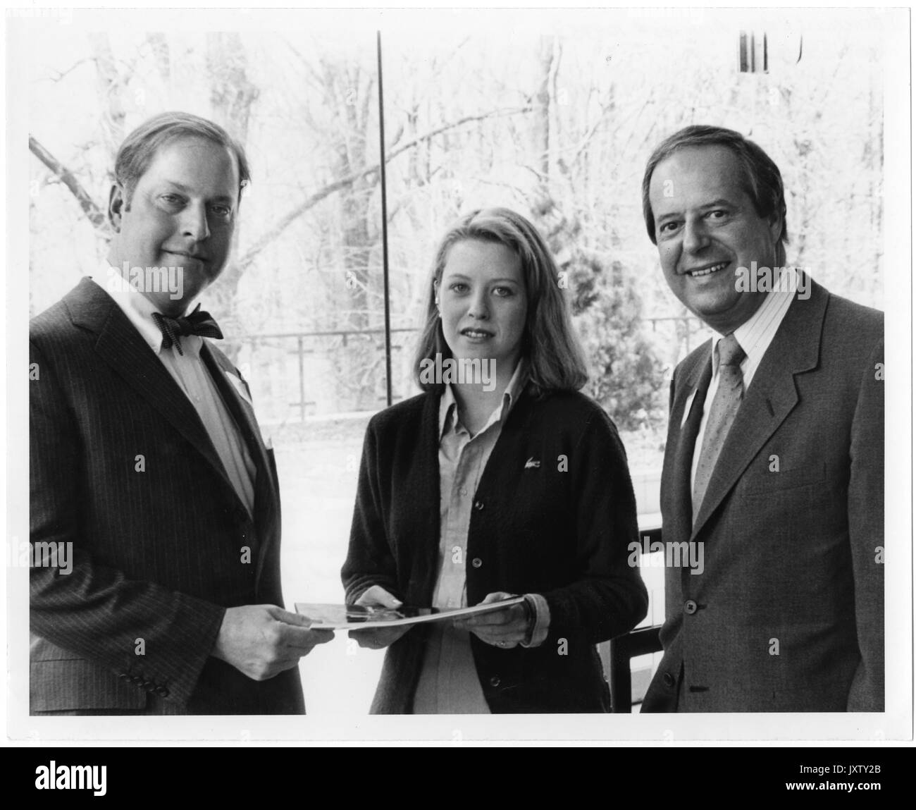 Beneficial-Hodson Merit Scholars, Steven Muller, Finn MW Casperson, An unidentified student is being presented in the Glass Pavilion with the Beneficial Hodson Merit Scholars Award by Finn MW Casperson, 1984. - Stock Image