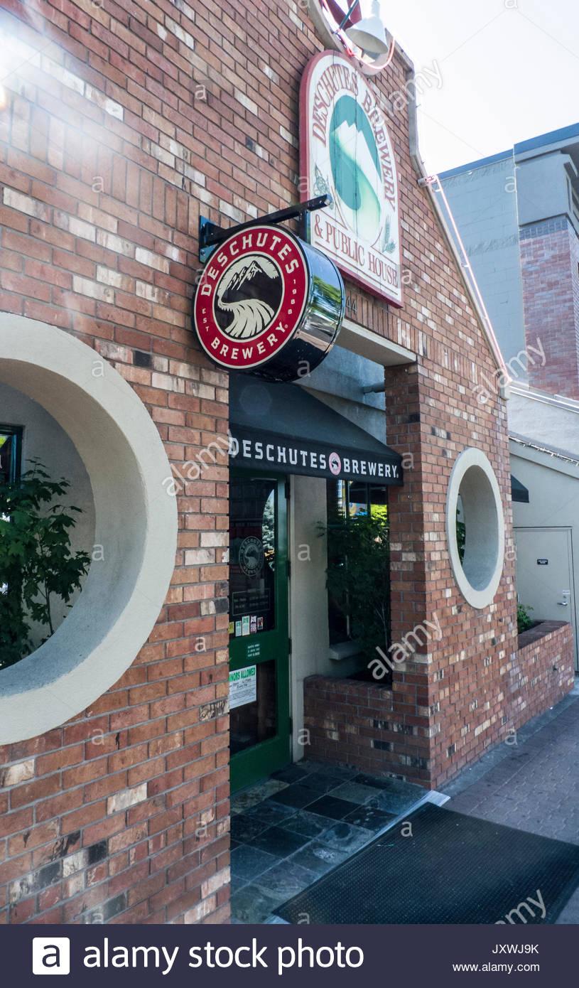 Entrance to Deschutes Brewery Public House, Bend, Deschutes County, Oregon, USA - Stock Image