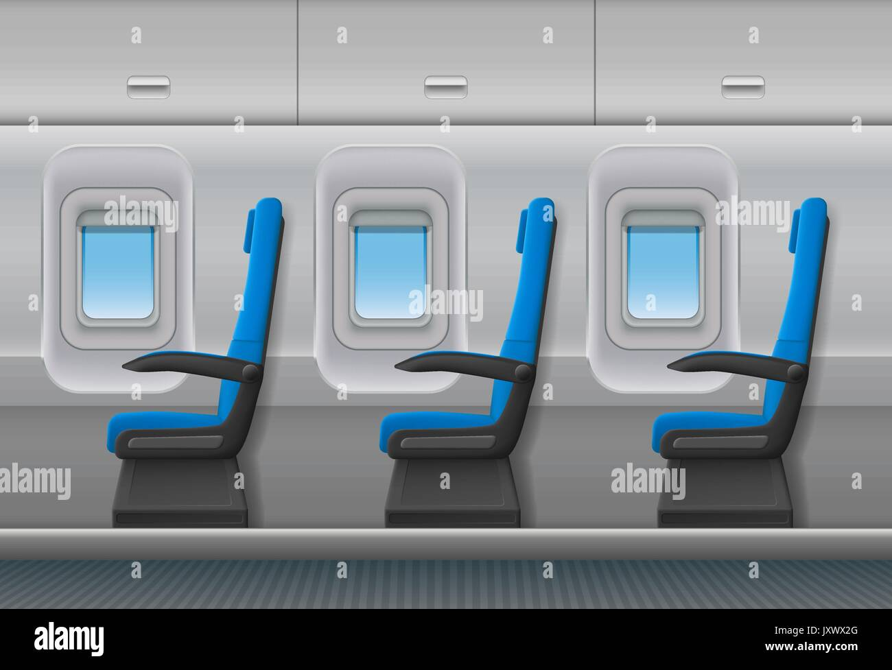 Passenger airplane vector interior. Aircraft indoor cabin with portholes and chairs seats. Vector illustration. & Passenger airplane vector interior. Aircraft indoor cabin with Stock ...