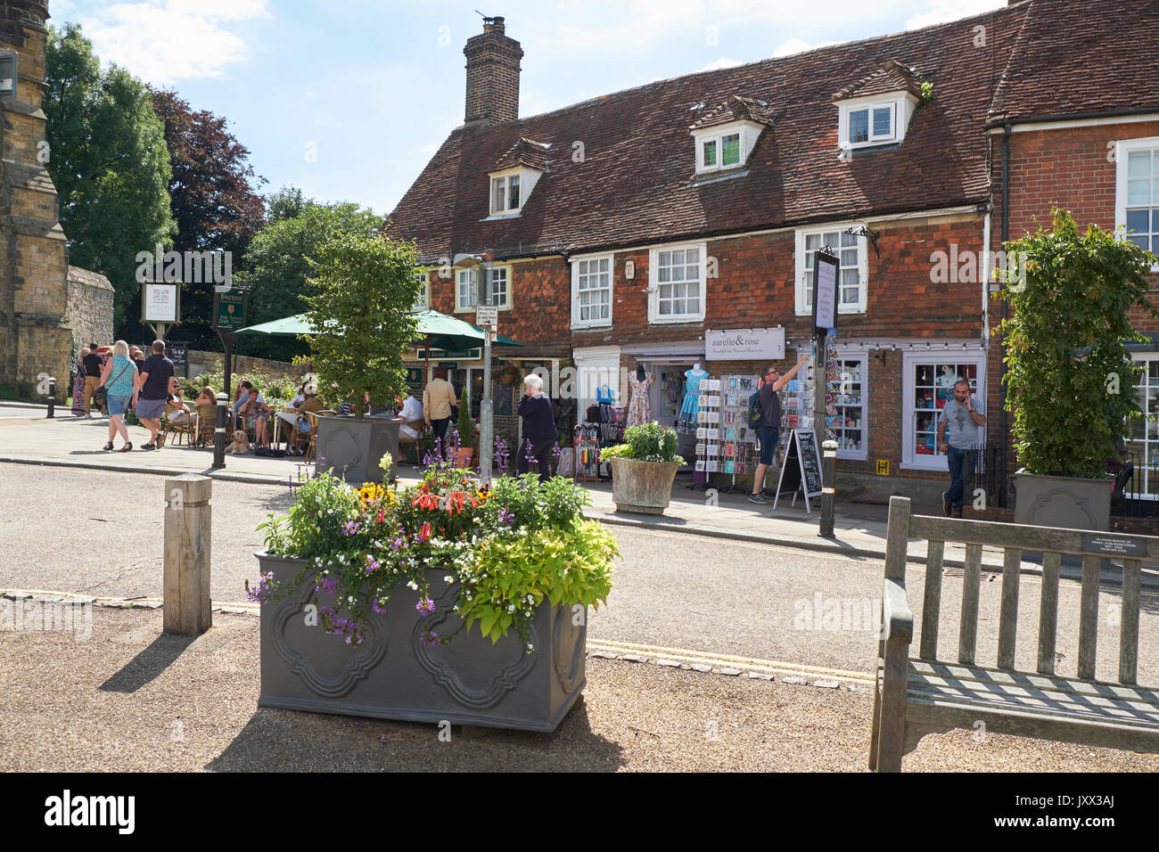 Battle, Burtons restaurant and tearooms, with people dining outside Battle Abbey, East Sussex, England, UK, GB Stock Photo