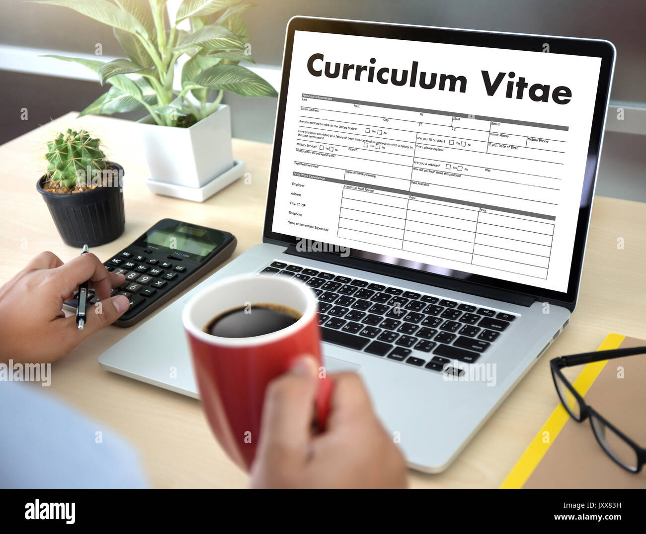 CV - Curriculum Vitae (Job interview concept with business CV resume) , BUSINESS OFFICE BUSINESSMAN WORKING application Stock Photo