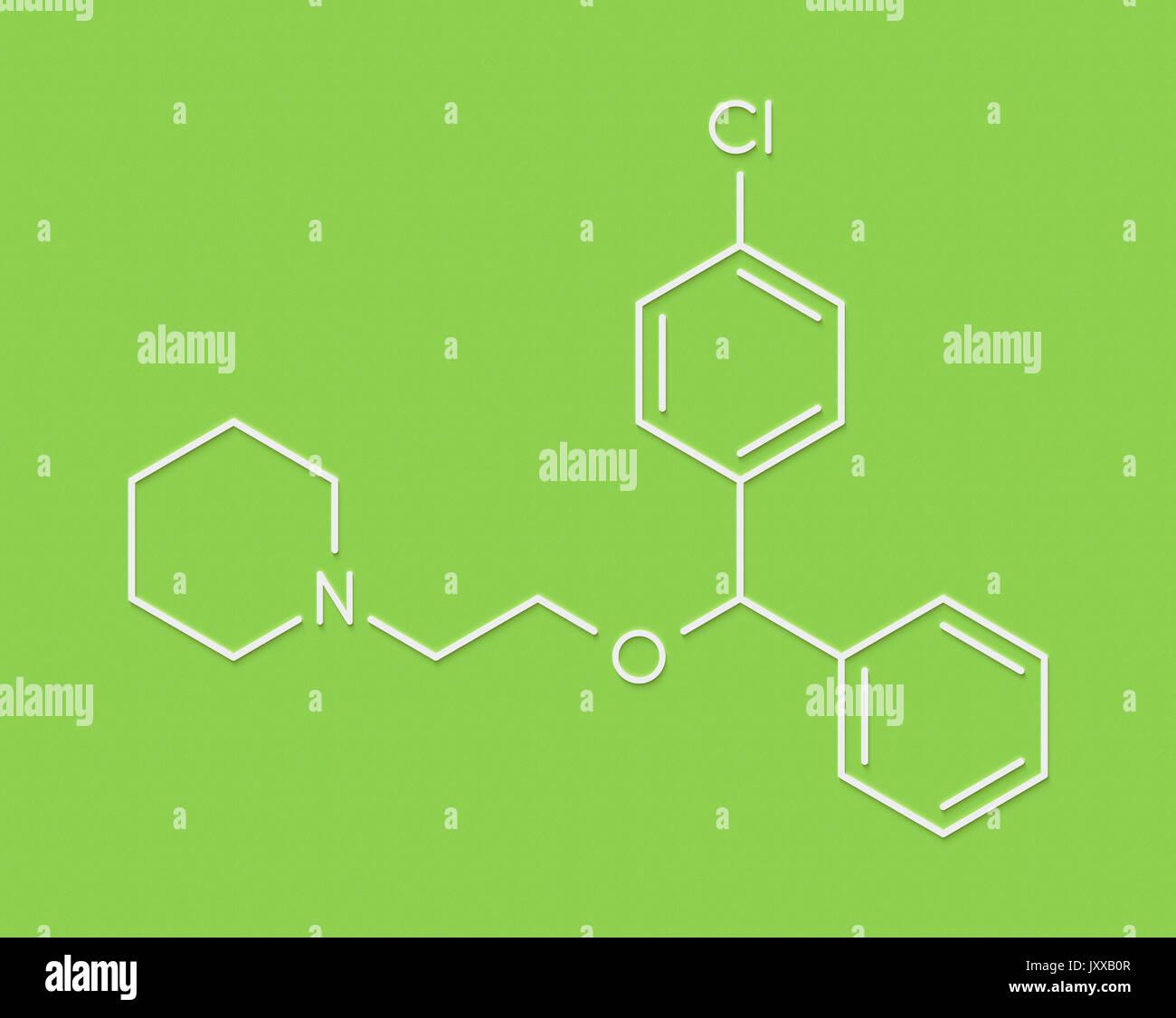 Cloperastine cough suppressant drug molecule. Skeletal formula. - Stock Image