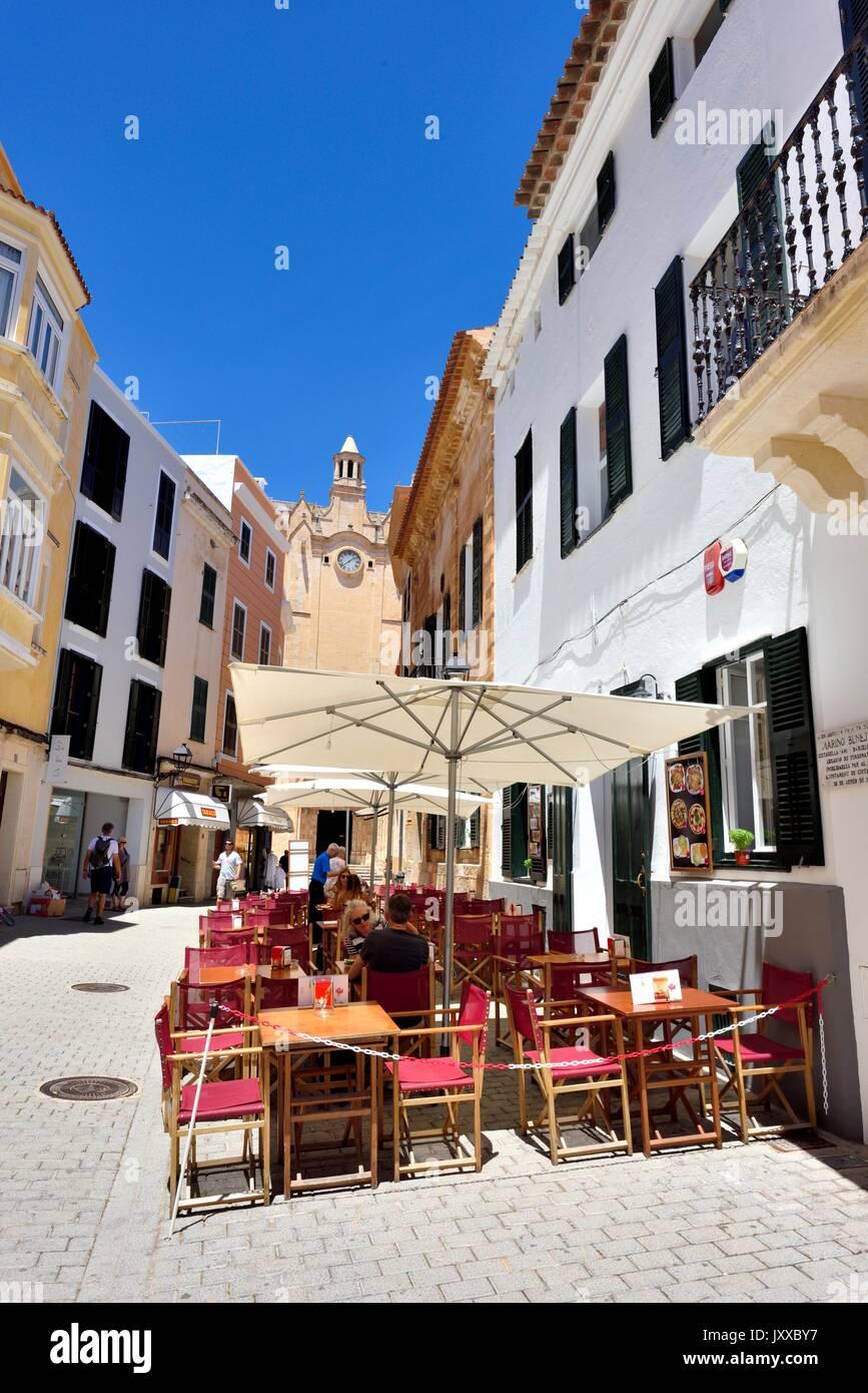 Street cafe restaurant restaurants Ciutadella menorca minorca - Stock Image